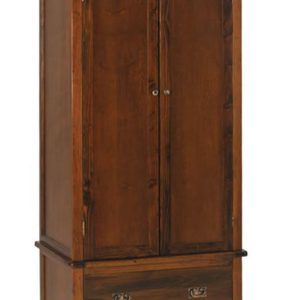 Bozz Antique Wood Bedroom Wardrobe 2 Door 1 Drawer With Rail - Dark Brown