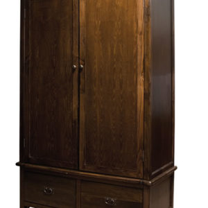 Bozz Antique Wood Bedroom Wardrobe 2 Door 2 Drawer With Rail - Dark Brown