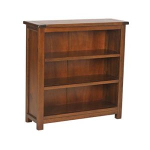 Bermont Dark Antiqued Softwood 3 Shelf Low Bookcase