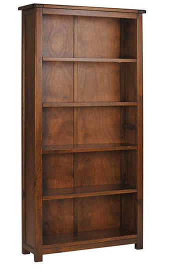 Bozz Antique Wood Tall Bookcase 5 Shelves - Dark Wood