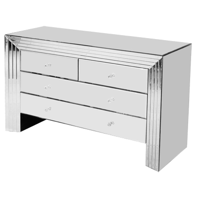 Mark Cabinet - 4 Drawer - Mirrored Glass