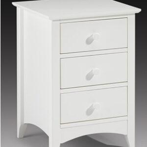 Treck White Stone Bedside Chest 3 Drawer - Fully Assembled Option
