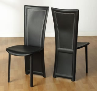 4 Camon Dining Kitchen Chairs High Back Black Padded Chairs