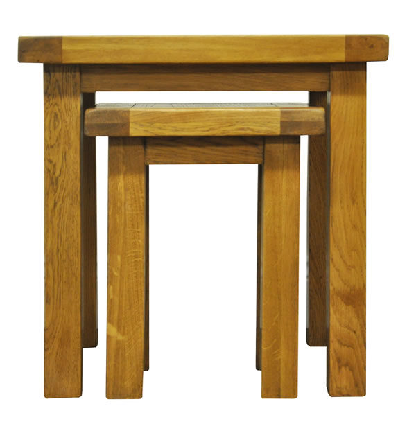 Fanone Nest Of 2 Tables Classic Style Oak Fully Assembled