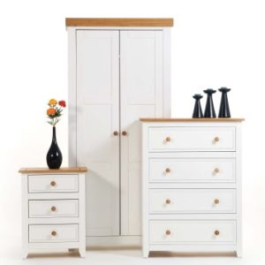 Shelton Solid Pine White Bedroom Suite - Wardrobe
