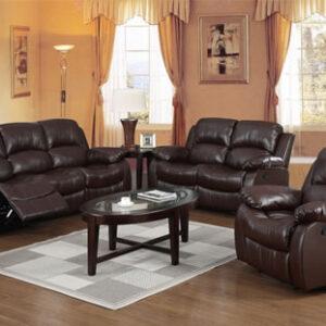 Faez Sofas Suite - Bonded Brown Leather Recliners - Set
