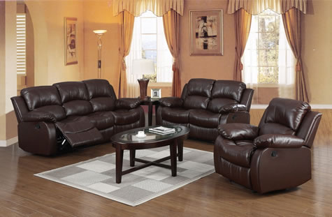 Faez Sofas Suite - Bonded Brown Leather Recliners