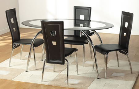 Carmel Oval Clear Glass Dining Set Border