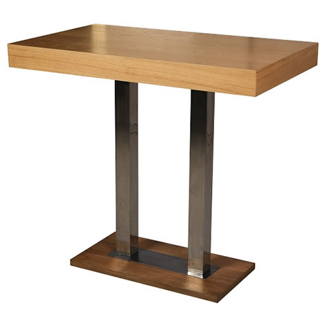 Caypone Tall Bar Poseur Kitchen Table Rectangular With Oak Or Wenge Top Stainless Steel Frame