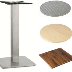 Carla Stainless Steel Table - Square Base