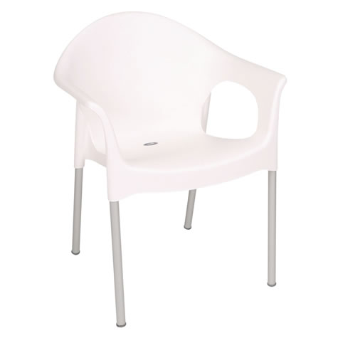 Montana White Outdoor Chair Stackable Chair With Armrests Pack Of 4