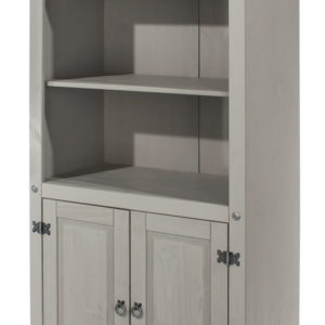Coson Grey Pine 2 Door Bookcase With Adjustable Shelves