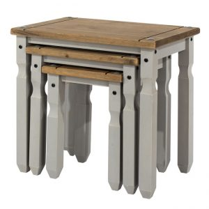 Coson Grey Pine Nest Of 3 Tables