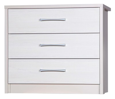 Ashley Quality Bedroom 3 Drawers Chest - Fully Assembled Cream Frame White Drawers