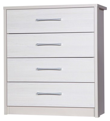 Ashley Quality Bedroom 4 Drawers Chest - Fully Assembled Cream Frame White Drawers