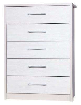 Ashley Quality Bedroom 5 Drawer Chest - Fully Assembled Cream Frame White Drawers