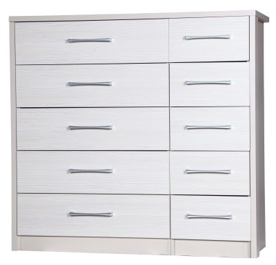 Ashley Quality Bedroom 5 Drawers Double Chest - Fully Assembled Cream Frame White Drawers
