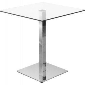 Chicago Square Clear Glass Chrome Kitchen Dining Table