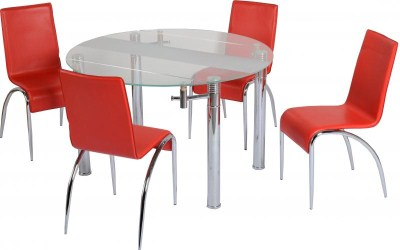 Callow Round Glass And Chrome Table And 4 Pu Chairs