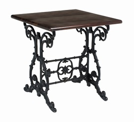 Cantra Black Cast Iron And Wood Table - Square Scroll Decorative Design Dining Height