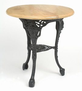 Predo Black Cast Iron And Round Wood Top Contract Pub Dining Table