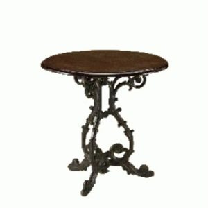Gare Wood Round Dining Table Decorative Cast Iron Frame - Light Oak