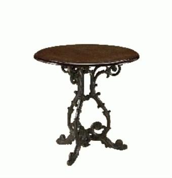 Gare Wood Round Dining Table Decorative Cast Iron Frame - Light Oak