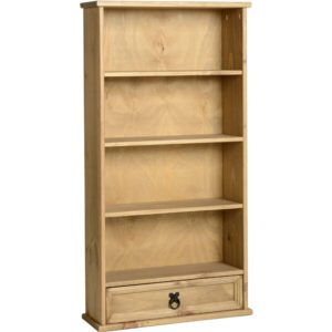 Potsy Bookcase / Cd / Dvd Storage Shelves With Drawer - Antique Pine