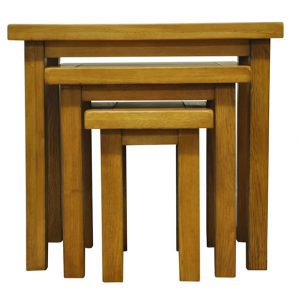 Fanone Nest Of 3 Tables Classic Style Oak Fully Assembled