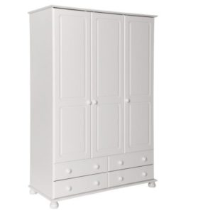 Tracy Large 3 Door 4 Drawer Wardrobe In White