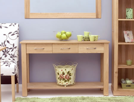 Tyler Oak Wood Console Table - Fully Assembled