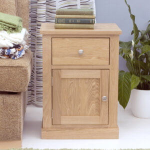 Alex Oak One Door One Drawer Lamp Table - Assembled
