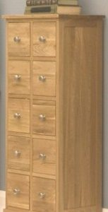 Hakim Solid Oak Multi-Drawer Dvd Cd Storage Chest Fully Assembled