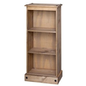 Pereza Low Narrow 3 Shelf Bookcase Waxed Pine