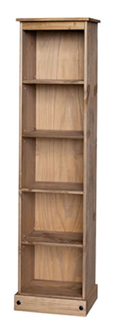 Pereza Bookcase - Tall Narrow - 5 Shelf - Waxed Pine