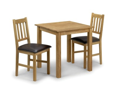 Cox White Solid Oak Square Dining Table And 2 Chairs - Chairs Fully Assembled