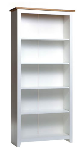 Shelton Pine And White 5 Shelf Tall Bookcase