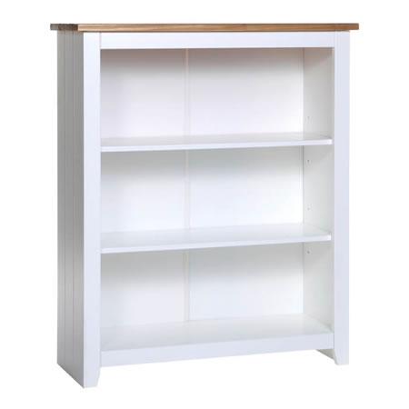 Shelton Pine And White 3 Shelf Low Bookcase
