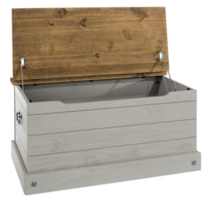Coson Grey Pine Storage Trunk Box