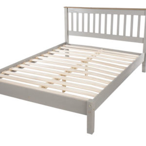 Coson Grey Pine Double 4Ft 6 Bed Slatted Low End Bedstead