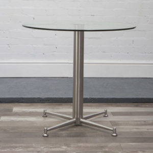 Corty Tall Glass Poseur Table Brushed Frame