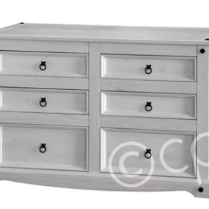 Carala Pine White 3+3 Drawer Wide Chest White Painted Bedroom Chest