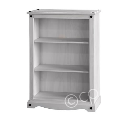 Carala Pine White Low Bookcase White Painted Adjustable Shelves