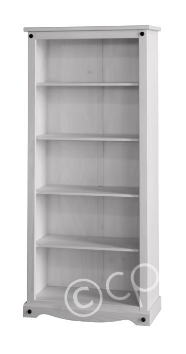 Carala Pine White Tall Bookcase White Painted Adjustable Shelves