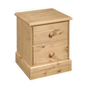 Dorset Traditional Pine 2 Drawer Bedside Cabinet