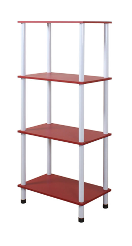 Chappa Four Tier Storage Shelves Bookcase Display Unit Red