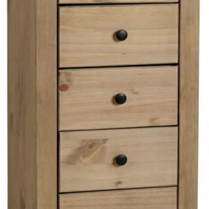 Chappa Pine 5 Drawer Narrow Chest In Natural Wax