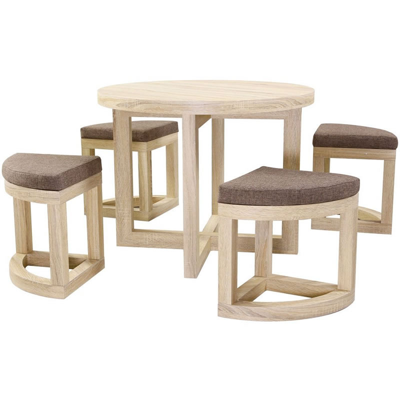 Chappa Oak Stowaway Spacesaver Kitchen Dining Set With 4 Chairs