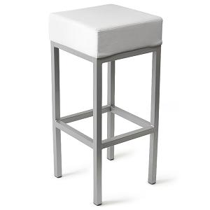 Caby Square Seat Kitchen Bar Stool White Padded Fixed Height