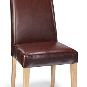 Cumbria Real Leather Dining Chair In Antique Brown Or Cream Seat And Oak Legs
